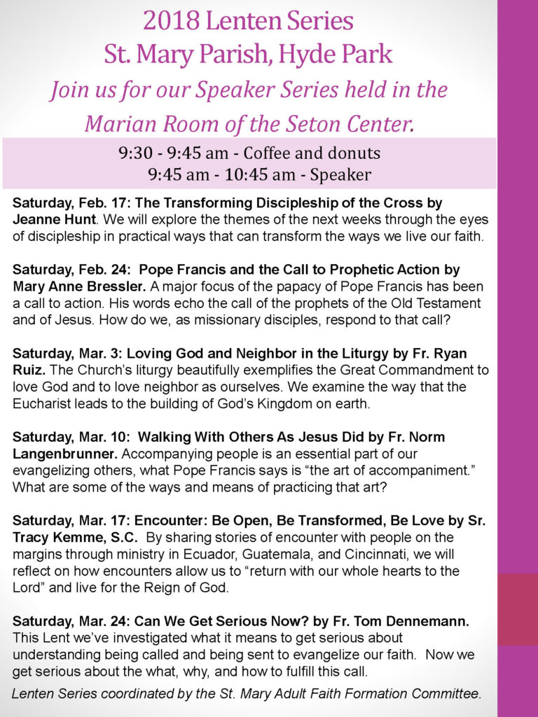 2018 St Mary Parish Lenten Series